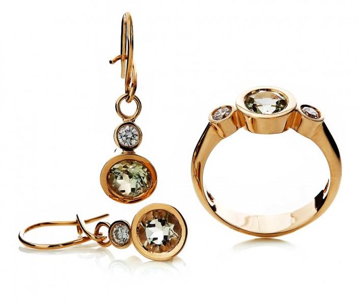 Guldsmykker i 14 karat guld i serien EARTH med lysgrøn topas og diamanter i brilliantslibning