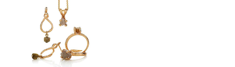 Guldsmykker i 14 karat guld med rådiamanter fra Melcher Copenhagen