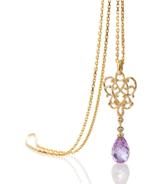 Guldsmykker | collier i 14 karat guld med ametyst, hængt i smukt mønster.